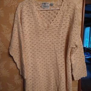 Extra Shenanigans cream hand crochet knit sweater
